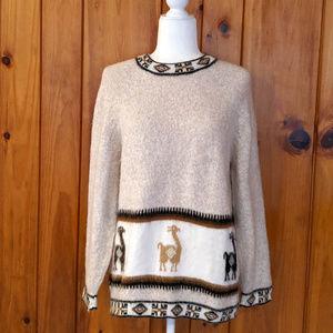 Vintage Llama Alpaca Aztec Geometric Med Sweater